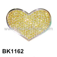 BK1162 - Small Heart Belt Buckle With Strass