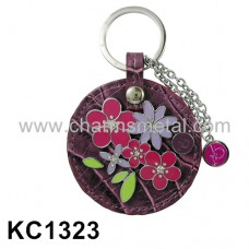 KC1323 - Flowers With Leather Key Chain