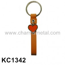 KC1342 - Leather Key Chain With Heart Pendant