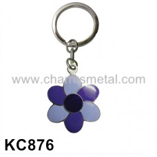KC876 - Flower With Enamel Metal Key Chain